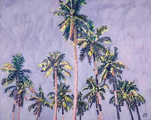 Palms and Lilac Skies by Leila Barton - Original Painting on Box Canvas